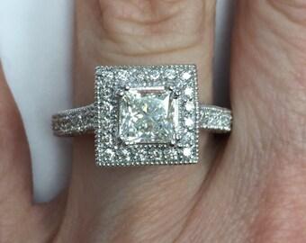 Princess Cut Diamond Engagement Ring, 2 Carat Diamond Ring, Halo Diamond Ring, Vintage Design Ring, Millgrain Edged Band, 14k White Gold