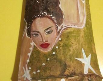 Beautiful Afro Caribbean Fantasy Mermaid Art- Original Art  Hand Painted  Recycled Drift Wood