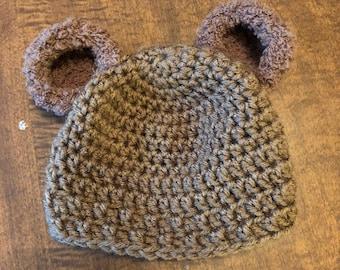 Crocheted Newborn Bear Hat