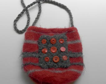 Red and Grey Hand Knit Felt Bucket Bag - Tick Tac Toe