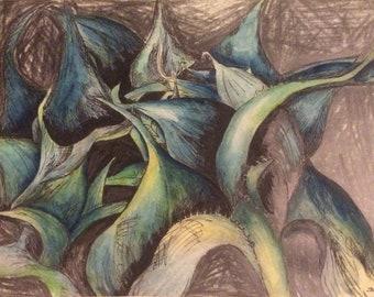 Original art, Blue leaves