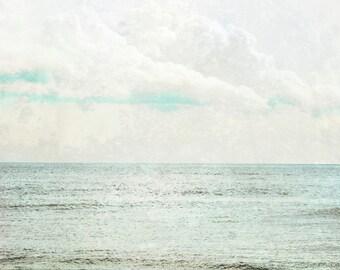 Coastal Shores Photograph, Ocean, Silver Blue Sea Green Print,  Dreamy Seaside Wall Art 8x8