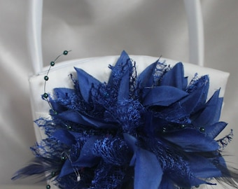 White or Ivory Satin Flower Girl Basket Royal Blue Fabric and Feathers Flower