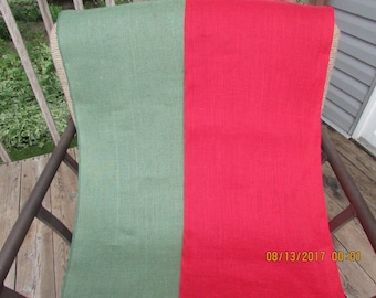 "Red or Spruce Green Burlap Table Runners 14"" wide"
