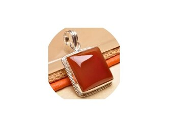 Red Onyx Pendant  , Square Pendant  ,  Sterling Silver Red Onyx Pendant