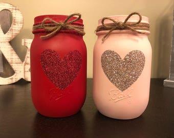 Glitter Heart Mason Jar