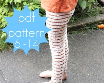 Basic Knit Leggings PDF Sewing Pattern - full or capri length options - nb-5t or 6-14 and doll/preemie