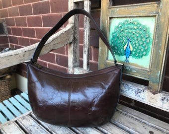 Vintage Brown Leather Bag - Cellini - Hobo