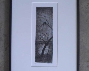 Birds in the Moonlight.  Original etching framed and ready to hang.