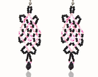 Native Earrings Black and Pink
