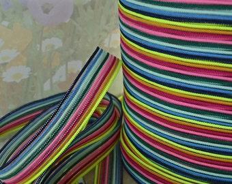 3yds Elastic Ribbon Strip Rainbow 1/2 inch wide diy Hair ties Headbands Waistband bra strap band multi-colored Stretch Choker Trim