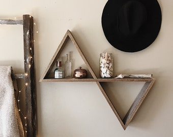 Double Triangle Shelf/ Reclaimed Wood/ Farmhouse Decor/ Pallet Wood Shelf/ Geometric Shelf/ Pallet Wood Art/ Pallet Art/ Geometric Wall Art