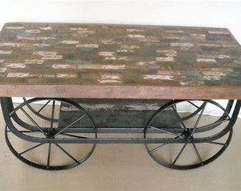 Stand TV  Coffee Table Reclaimed Wood Vintage Industrial Wheels