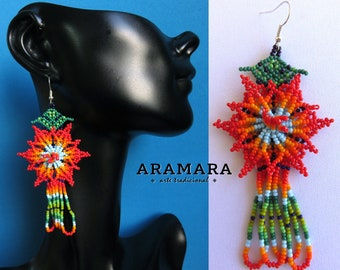 Mexican earrings, Mexican Jewelry, Native american earrings, Flower Earrings, Mexican folk art, Huichol Earrings, Beaded Flower, AF-0337