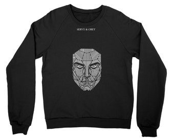 Serve and Obey Mask SWEATSHIRT  Grunge Clothing funny fun tumblr hipster swag grunge goth punk new retro raglan