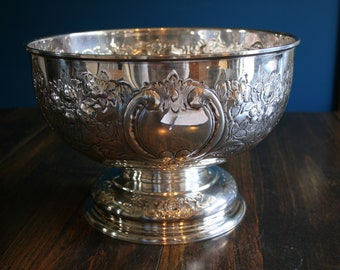 Folgate Silver Plate Hand Chased Large Centerpiece Bowl