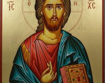 Jesus Christ Pantokrator Closed Book Hand-Painted Byzantine Orthodox Icon on Wood 40 x 30cm