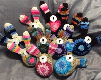 Crochet Granny Square stuffed Bunny, Rabbit Plushie Toy