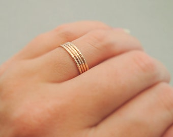 Gold Rings or Rose Gold Rings thin sparkly ring stacking ring knuckle ring or thumb ring