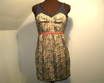 Deconstructed Sheer Panels Dress Sleeveless Short Mini Multi Color Staring At Stars Boho Lightweight Petite Women's Small US Size 2