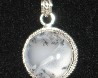 Beautiful Dendritic Agate Cabochon in a Silver Setting - ALl Pendants Come With an 18 Inch Chain