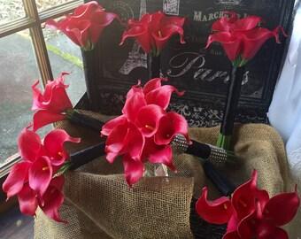 Fuchsia Red Calla Lily 7 Piece Wedding Bouquet Set, Fuchsia Red bouquet, Real touch Bouquet, Red Bridal Bouquet, Fuchsia Red Wedding Flowers