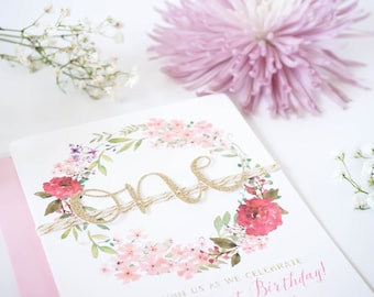 Floral First birthday invitation | Baby girl invitation | Floral winter first | Pink and Gold invites | Glitter flower One invite | 1st girl