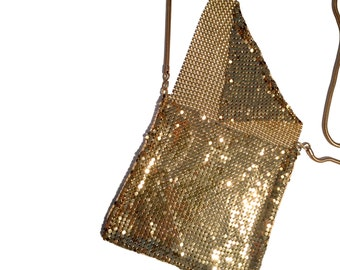 Vintage Gold Mesh purse with long snake chain strap