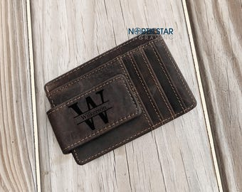 Money Clip, Personalized Money Clip, Mens Leather Money Clip Wallet, gift for husband, Mens gift, Gift for Dad, Custom Money Clip, Christmas