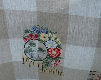 Embroidered linen Tea towel: in my garden