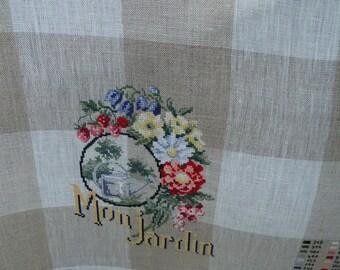 Embroidered linen Tea towel: in my garden