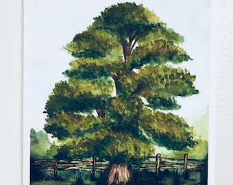 Watercolor original tree painting