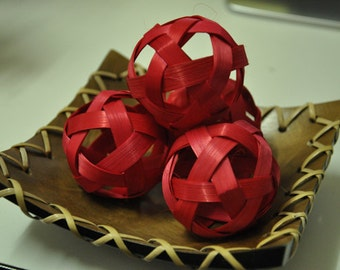 20 Red color Bamboo balls  Decoration