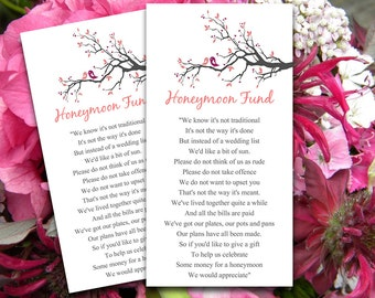 Love Birds Wedding Honeymoon Fund Card | Tree Branch Wedding | Blush Pink Wine Gray Downloadable Wedding Invitation Insert | EDITABLE
