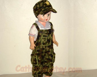 Baby Camouflage Overall and Hat Set, Buttons at legs for easy change - INSTANT DOWNLOAD Crochet Pattern