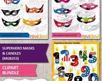 Superhero clipart for kids birthday party - superhero masks clip art, birthday candles numbers - bundle sale