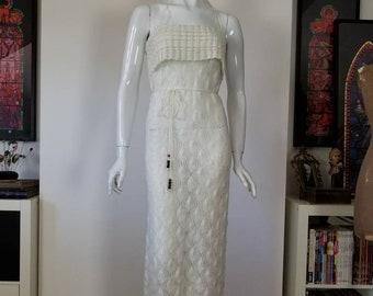 Vintage Cream Crochet 1970s Halter Neck Maxi Dress Small