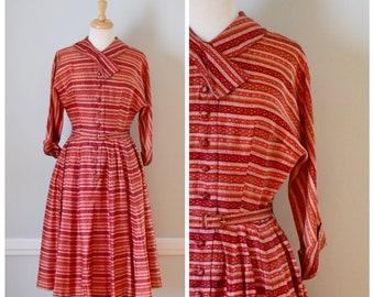 50s Dress / Vintage 50s Dress / Vintage Dress / Shirtwaist Dress / Full Skirt / Red / Striped Dress / Rockabilly Dress / Day Dress / Small