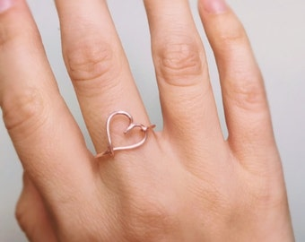 Rose Gold Heart Ring, Side heart, Rose gold ring, Heart ring, Love ring, Rose gold heart, Wire ring, Stackable ring, Bridesmaids gift