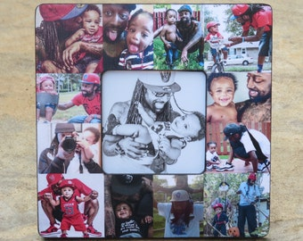 Personalized Father's Day Picture Frame, Unique Baby's First Year Picture Frame, Photo Collage Frame, Dad Birthday Gift, Mother's Day