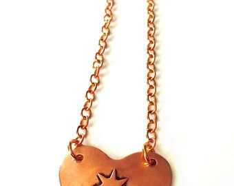 Copper Heart Necklace Tsalagi Cherokee Made