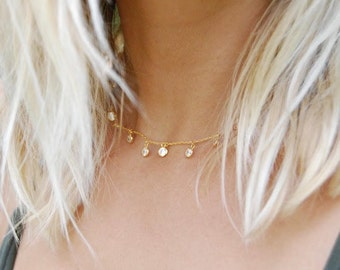 Large bezel cz charm necklace - gold necklace - choker - choker necklace - cz necklace - cubic zirconia - silver necklace - E3-CN-8089