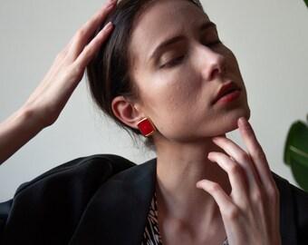 red rectangle earrings / geometric earrings / minimalist earrings / 1913a