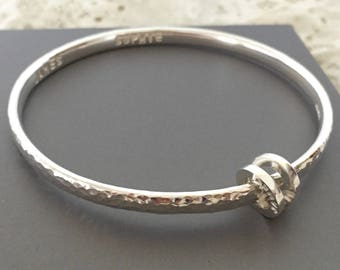Sterling silver personalised bangle hammered finish with personalised loop name loop