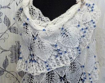 """Handmade Shawl """"Snow Charming"""" white knitting shawl handmade, Handmade shawl, Russian shawl, White mohair shawl, Wedding shawl"""