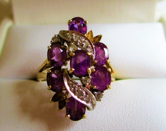 Vintage 10K Yellow Gold Amethyst And Diamond Cluster Ring Stunning!!!