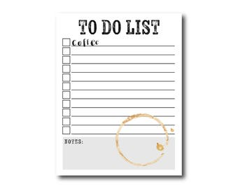 But First, Coffee Note Pad // To Do List Notepad, Coffee, Note Pad, Notepads, Motivational, To Do List, Inspirational, Coffee Stain