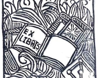 Ex Libris Bookplate Book burning