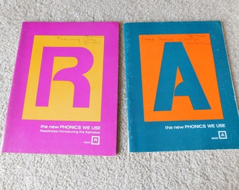 Vintage Elementary School Workbooks Lot of 2 The New Phonics We Use Books A & R 1972