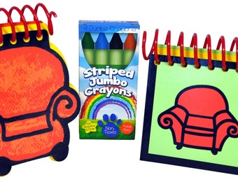 Blue's Clues STEVE and JOE COMBO Handy Dandy Notebooks with box of 4 Crayons